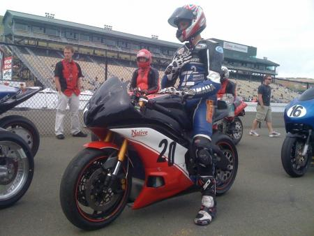 Jason Lauritzen prepares to race the TTXGP at Infineon. The team showed up a bit late, having put the bike together in haste. It finished 6th despite having to pit during the 11-lap race. (Photo courtesy of Native Cycles.)