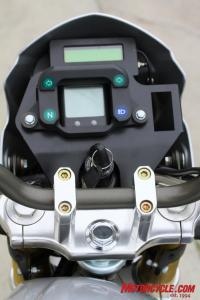 """Basic but functional instruments are spec�d with the Native S. Our demo came with an optional """"Cycle Analyst"""" (upper digital instrument unit), but current models now integrate electrical system data readout, as well as speed, trip, distance, etc., in the main (lower) instrument cluster."""