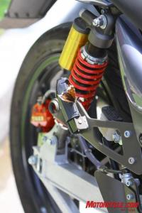 Note the exhaust hanger that Tiger left in place to turn these into petrol bikes in Asia. You won�t likely attract a butterfly in this spot on a hot-running petrol bike.
