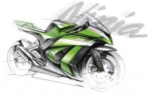 This design concept sketch shows the general styling theme of the 2011 ZX-10R, but the race version (based upon the production bike) seen at Suzuka deviates significantly from the sketch, especially the shape and design of the side fairing panels.