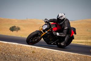 His carbon fiber fender leading the way, the Empulse prototype rider just about gets a knee down � something Brammos until now weren't known to encourage.