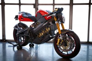 A small radiator signals the world's first water-cooled production electric motorcycle.