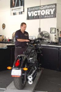 Southern California Motorcycles' service tech Danny Edwards prepped our bike with the new parts.