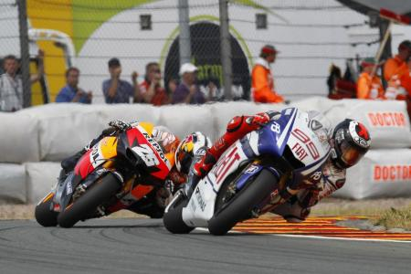 Dani Pedrosa was second behind Jorge Lorenzo when the race was stopped with a red flag. When the checkered flag waved, the roles were reversed.