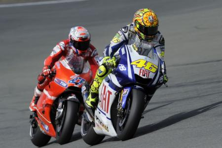 Valentino Rossi and Casey Stoner's battle brought back memories of the 2008 USGP. If we're lucky, we'll see these two go at it again next week at Laguna Seca.