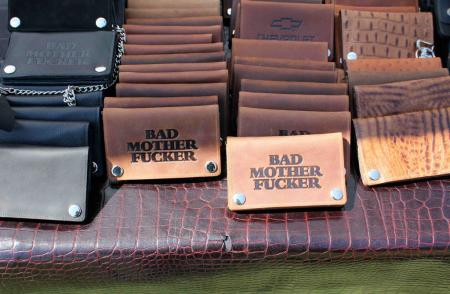 Bad-ass starter kits were available to imbue an instant self-image upgrade. Emblazoned with the logo of your choice were these top grade cowhide wallets. Inside, you can stash you identification, while outside another identity is proudly displayed.