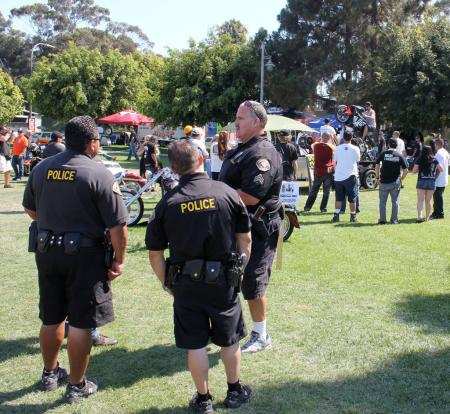 Police were hired to look out for trouble but seem unconcerned as riders learn new tricks.