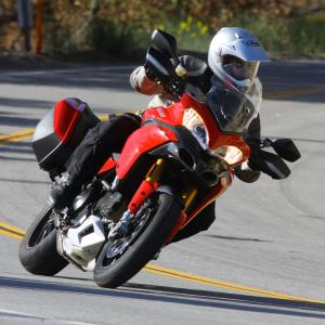 At home and dominating on the pavement, the Multistrada plainly exhibits Ducati sportbike heritage from which it draws heavily.