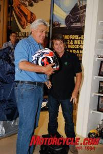 Troy Lee (Leno's left) hand-delivered a custom-painted helmet to Leno.