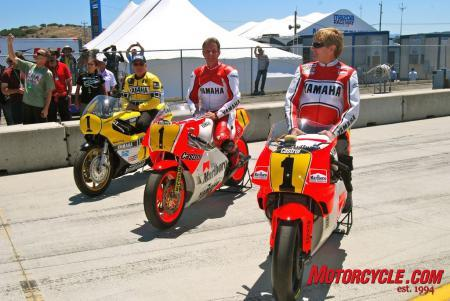 Racing legends of the past. Three former GP champions, Kenny Roberts (left), Eddie Lawson (middle) and Wayne Rainey (right), sat aboard their championship-winning machines. All three riders won 500cc world titles on Yamahas.