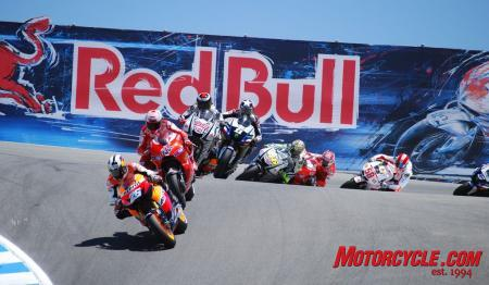 MotoGP riders battle it out through the famous Corkscrew at Mazda Raceway Laguna Seca during the 2010 edition of the Red Bull U.S. Grand Prix near Monterey, California.