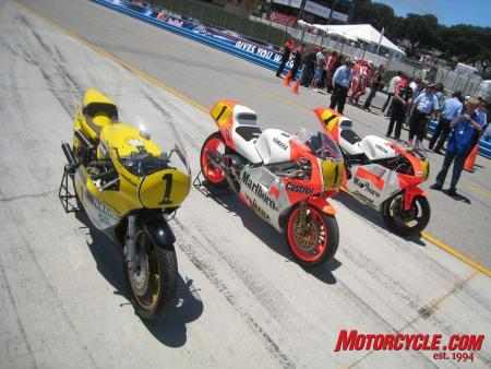 Eddie Lawson's old 500cc GP machine is bookended by Kenny Roberts' (left) and Wayne Rainey's (right).