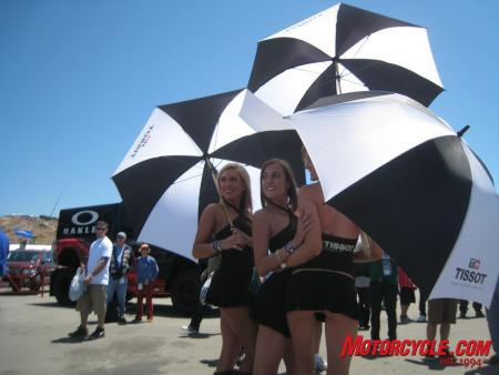 The ever-popular 'brolly girls never fail to gain attention.
