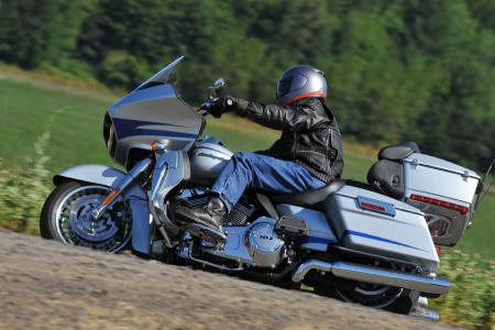 The Road Glide is a big machine, but it hides its size well.
