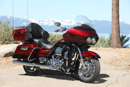 The Road Glide Ultra is the latest addition to Harley-Davidson's high-end CVO line. This Rio Red and Black Ember with Quartzite graphics package is one of three color schemes to choose from.