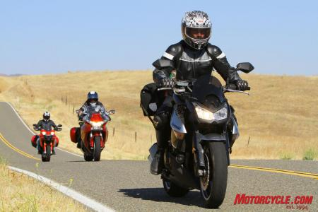 Despite lacking virtually every touring feature and upscale accoutrement found on the VFR and Multistrada, the Kawasaki Z1000 found a special place in our hearts as the least expensive Little Sport-Tourer That Could.