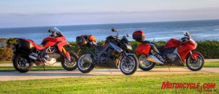A Ducati Multistrada S, Kawasaki Z1000 and Honda VFR1200F. Is any one the definition of a sport-touring motorcycle?