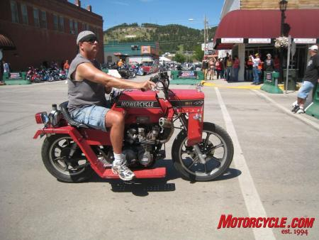 Harleys make up about 90% of the bikes at Sturgis, but to stand out in a crowd, you can't do much better than riding a Mowercycle.