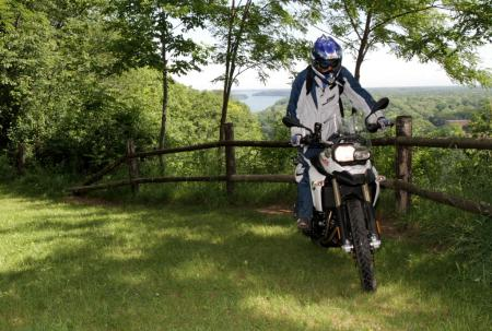 The BMW is very comfortable to ride in the standing position, feeling enough like a dirt bike after a while that you can easily forget you're on a 455-pound motorcycle.