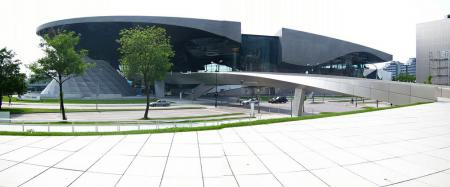 The exterior of BMW's Welcome Center is compelling.