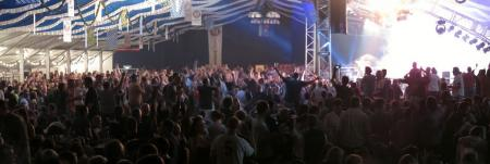Inside the main tent at Motorrad Days; 4,000 people, beer, rock 'n' roll.
