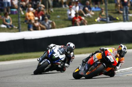 Dani Pedrosa held of Ben Spies for his third win of the 2010 season.