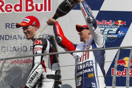 Ben Spies and Jorge Lorenzo celebrate on the Indianapolis podium. Could this be a sign of things to come for the factory Yamaha team in 2011?
