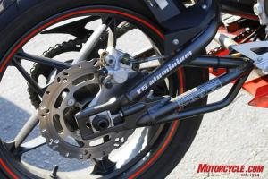 This welded alloy swingarm is an innovative touch.