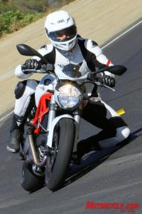 Editor Jeff Cobb easily plants a knee while strafing canyons aboard the new Monster 796. He found that although the footpegs touch down now and then, �they are high enough that you�re a hero if you do it regularly.�
