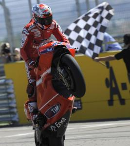Casey Stoner led wire-to-wire, winning his first race since last season.