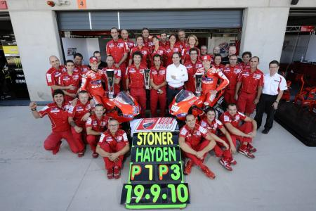 Casey Stoner and Nicky Hayden delivered Ducati its best results all season. Ducati then began praying for construction on Hungary's circuit to be continue facing delays so Aragon will return to the calendar next season.