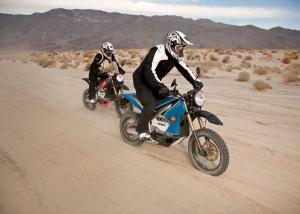 A pair of Zero electric Dual Sports take an easy cruise thanks to their on/off road knobbies in California.