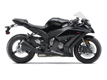 The 2011 ZX-10R. Note the pronounced beak that extends well past the front axle and the thin-spoke wheels that shave nearly 2 lbs of unsprung mass.
