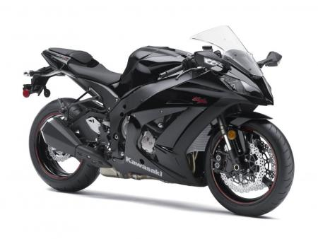 Cap: The 2011 Kawasaki ZX-10R looks especially sinister in its black version. It�s a new favorite among Japanese sportbike design.