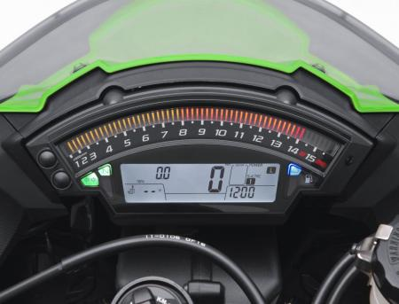 Bright LEDs make up the bar-graph tachometer. A host of other information is transmitted via the LCD cluster below.