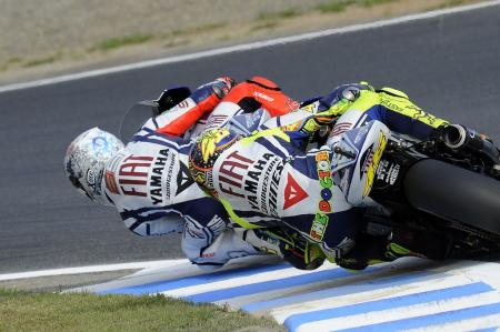 Jorge Lorenzo and Valentino Rossi had a race-long battle, even touching fairings a couple of times.