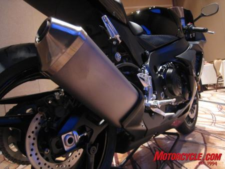 Seen here is the GSX-R750's new titanium muffler, not quite as light as the exhaust system on the 600.