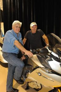 Gearhead extraordinaire Jay Leno hosted the American unveiling of BMW's K1600GTL at his splendid facility. Legendary actor Harrison Ford rode his BMW F800GS in the rain to check it out.
