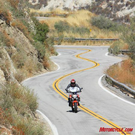 Roads like these bring out the Shiver 750's fun factor!