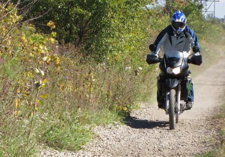 Find a gravel farm lane or path and explore. The KLR lives for stuff like this!