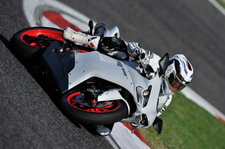 The 848 EVO loves being leaned over in the corners.