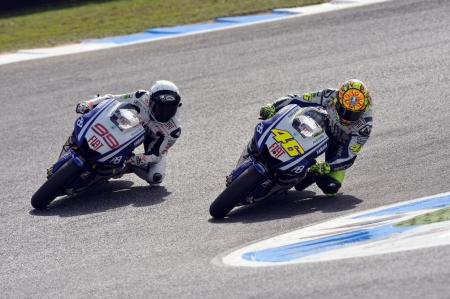 Jorge Lorenzo and Valentino Rossi put on a show for several laps before Lorenzo took control.
