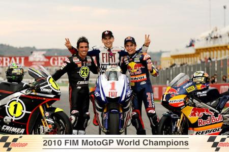 The crowd at Valencia had cause to celebrate with three Spanish World Champions in Toni Elias, Jorge Lorenzo and Marc Marquez.