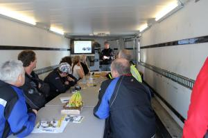 Class sessions were held in the trailer. Then we�d all gear up, and apply the lessons learned on the tarmac.