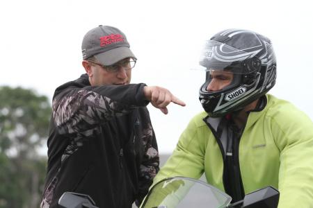 Lee Parks explains to me something I did wrong in one of the many parking lot exercises we did. That happened a lot. I tried not to argue too much, and just played grasshopper and let sensei teach me the way to motorcycling enlightenment.