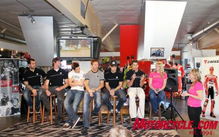 Seated left to right: Davi Millsaps, Travis Pastrana, Nicky Hayden, Steve Rapp, Chris Ulrich, Ben Bostrom, Elena Myers.
