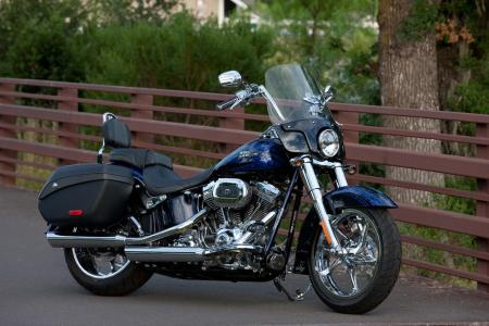 The 2012 Convertible Softail in Abyss Blue with Catacomb Graphics. The Convertible is the only model other than the Electra Glide to get the Zumo 660 GPS.