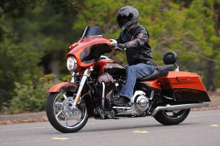 The 2012 CVO Street Glide in the Hot Citrus color scheme.