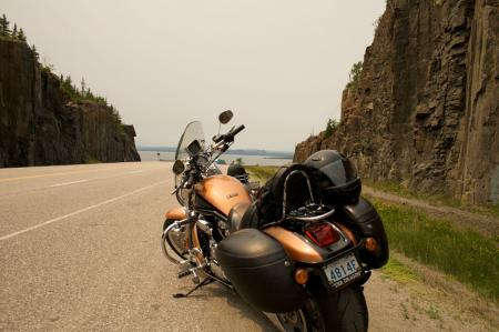 Bikes on the TransCanada Highway - North Shore of Lake Superior