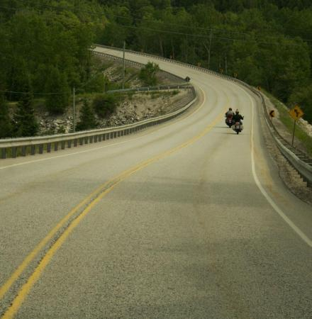 Curve on Highway 6, leaving Manitloulin for North Bay